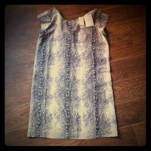 NWT Joie silk dress gray and cream print